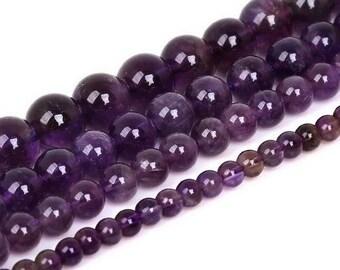 Round bead Amethyst 10mm x 5 (grade AAA)