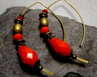 Earrings half hoop earrings with red coral beads sandwiched
