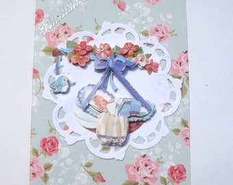 117 - Birth or christening 3D congratulations card