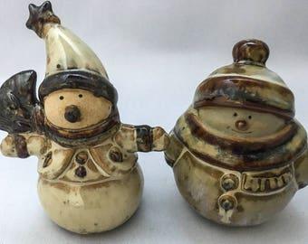 Two very charming vintage snowmen
