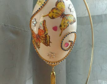 Faberge Style Egg, Butterflies with/stand, Goose Egg