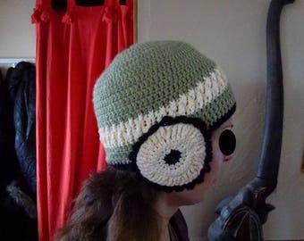 Green very original handmade crochet Beanie