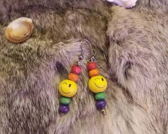 Rainbow Winky Face Earrings