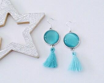 Sky blue opal earrings