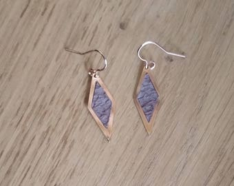 """Earrings """"diamond"""" in rose gold plated brass and leather taupe"""