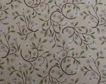 Coupon fabric 90 x 110 cm - beige pattern branches leaves and flowers