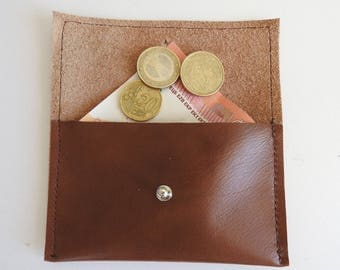 Recycled Tan Leather Wallet range coin worn brown leather coin man or woman