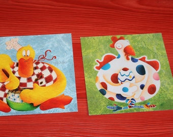 set of two postcards square chicken duck