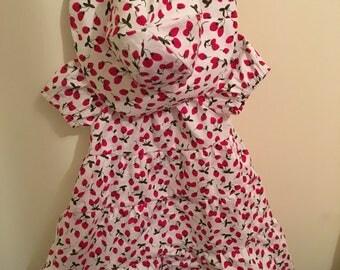 Strawberry dress and hat set