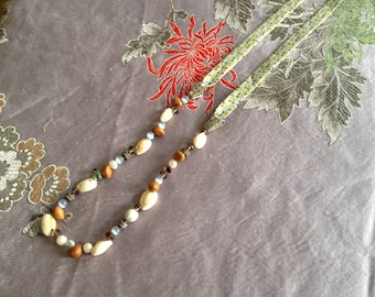 Long necklace mi - pearls, shells, seeds and Ribbon