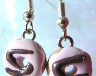 Earrings donuts polymer clay pink and Brown glaze