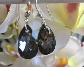 "Earrings ""malika"" 925 sterling silver and gray swarovski crystal"