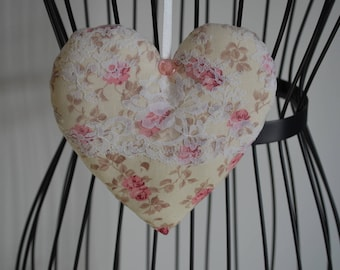 heart hanging fabric and lace