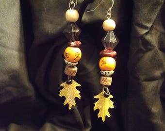 Japanese inspired autumn dangling earrings