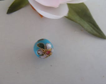Blue diameter 10 mm enamel cloisonné bead