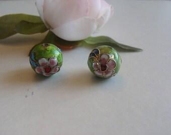 Lot 2 light green enamel cloisonne beads