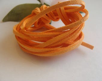 Set of two orange faux velvet suede 3 * 2 mm cords