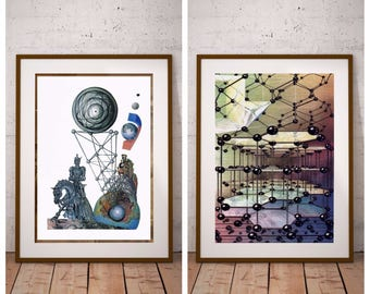 Set of 2 Prints - Chemical Bonds and Science Fiction Vintage Prints - 1990 Chemistry Encyclopedia - Printable Art - Instant Download