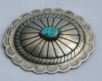 Vintage Navajo Silver and Turqoise Concho Brooch