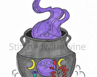Witches cauldron print