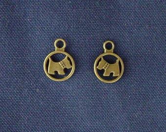 2 bronze charms small dog