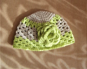 Lime green and beige crochet baby Hat