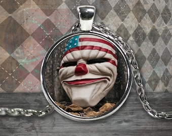 Round Clown America Purge Mask in Silver Plated or Gold Plated Necklace