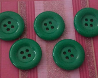 SET of 5 big buttons green 4 hole VINTAGE SCRAPBOOKING 21 mm