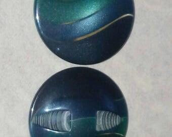 LARGE buttons 30 mm VINTAGE blue green gradient