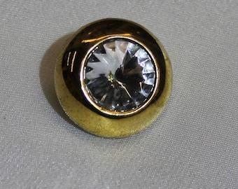 Circle gold tone 15 mm rhinestone jewel button