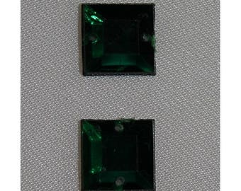 square rhinestone - 12 mm - Green