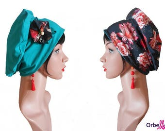 """Chemo REVERSIBLE beret """"Gladys"""" & its removable fabric flower"""