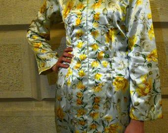 Vintage Yellow Floral Kimono Robe