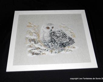 OWL embroidery OWL in the snow in frame