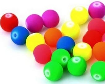 Wholesale lot of 100 10mm neon acrylic beads - see description