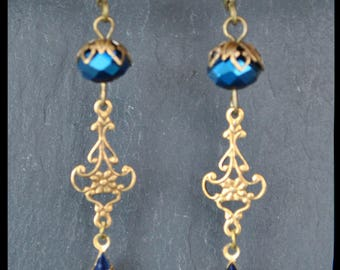 Earrings baroque, navette set Blue Navy and brass stamping