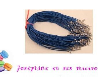 DARK blue 1 necklace 46 cm faux leather
