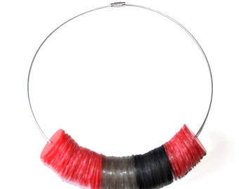 Red and black recycled plastic necklace