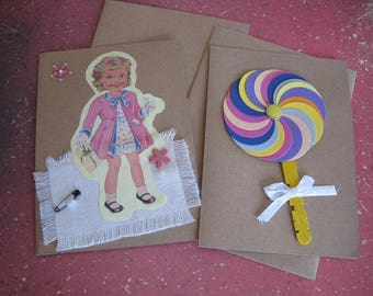 Set double cards in kraft paper with envelope, girl, Lollipop, fabric, wood