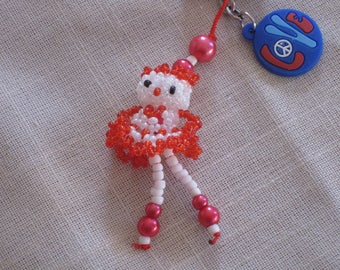Keychain doll seed bead, Bell