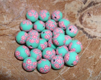 set of 10 polymer clay beads made by hand, approximately 8 mm diameter