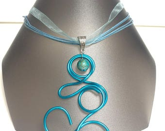 Blue organza and aluminum pendant necklace