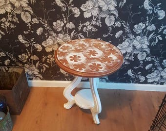 Upcycled, shabby chic hand painted white floral small table stool furniture home