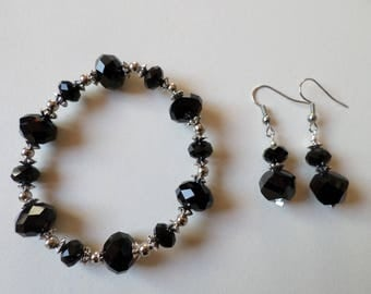 Black and Silver Glass Bead Earrings