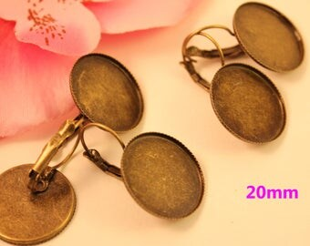 1 pair of lever back earrings bronze round for cabochons 20mm