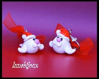 polymer clay earring seal Christmas jewelry gift