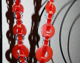 Necklace mix of satin ribbon and washers