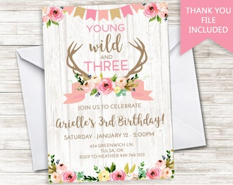 Young Wild Three Invitation Invite Birthday Digital 5x7 Boho Girls Pink Rustic Antlers Deer