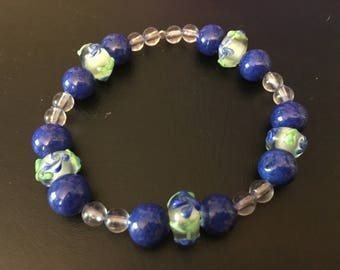 Blue and green elastic bracelet