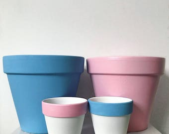 Large pretty pastel planters - set of two